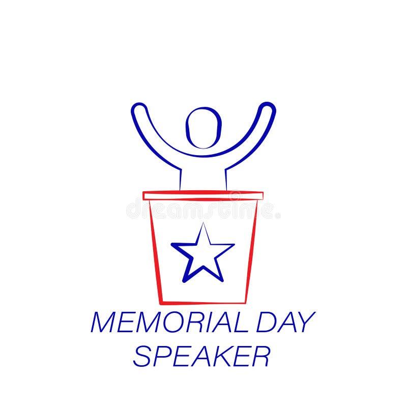 Icône colorée par haut-parleur de Jour du Souvenir Élément d'icône d'illustration de Jour du Souvenir Des signes et les symboles  illustration libre de droits