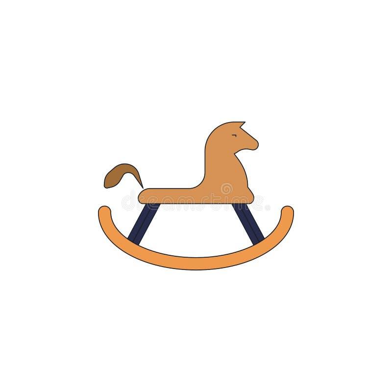 Icône colorée par jouet de cheval de basculage de bande dessinée Des signes et les symboles peuvent être employés pour le Web, lo illustration libre de droits