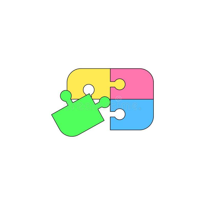 Icône colorée par jouet de puzzle de bande dessinée Des signes et les symboles peuvent être employés pour le Web, logo, l'appli m illustration de vecteur