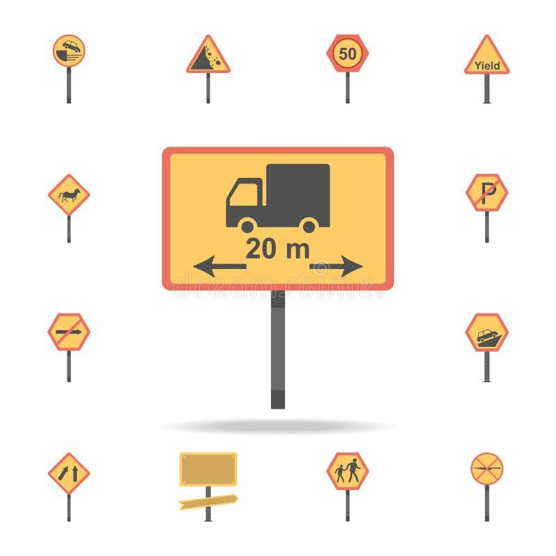 Icône colorée par limite de longueur Ensemble détaillé d'icônes de panneau routier de couleur Conception graphique de la meilleur illustration stock