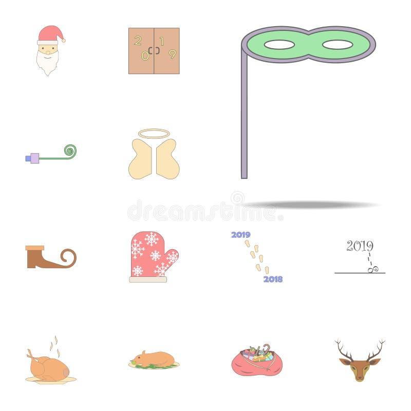 Icône colorée par masque de Noël Ensemble universel d'icônes de vacances de Noël pour le Web et le mobile illustration de vecteur