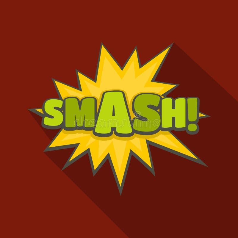 Icône comique de fracas de boom, style plat illustration libre de droits