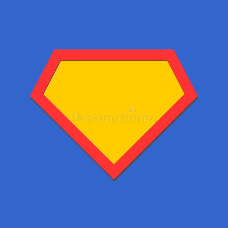 Icône comique de héros, bouclier de symbole Vecteur d'isolement sur le fond bleu illustration stock