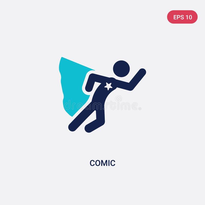 icône comique de vecteur de deux couleurs d'activité et de concept de passe-temps le symbole comique bleu d'isolement de signe de illustration libre de droits