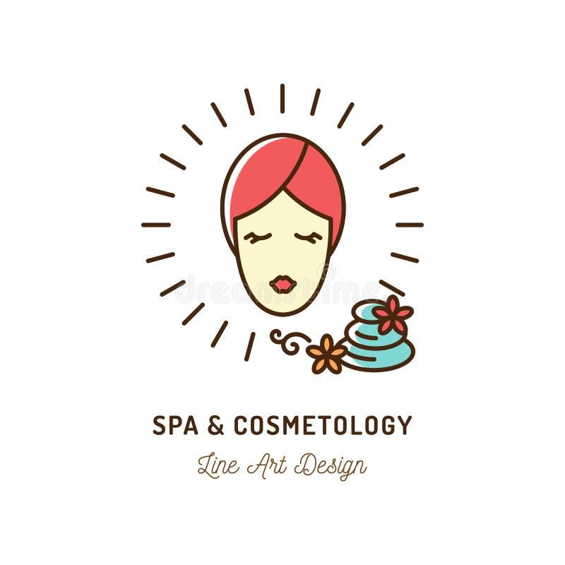 Icône, cosmétologie et beauté cosmétiques de thérapie de station thermale Icônes de station thermale avec la femme avec la servie illustration de vecteur