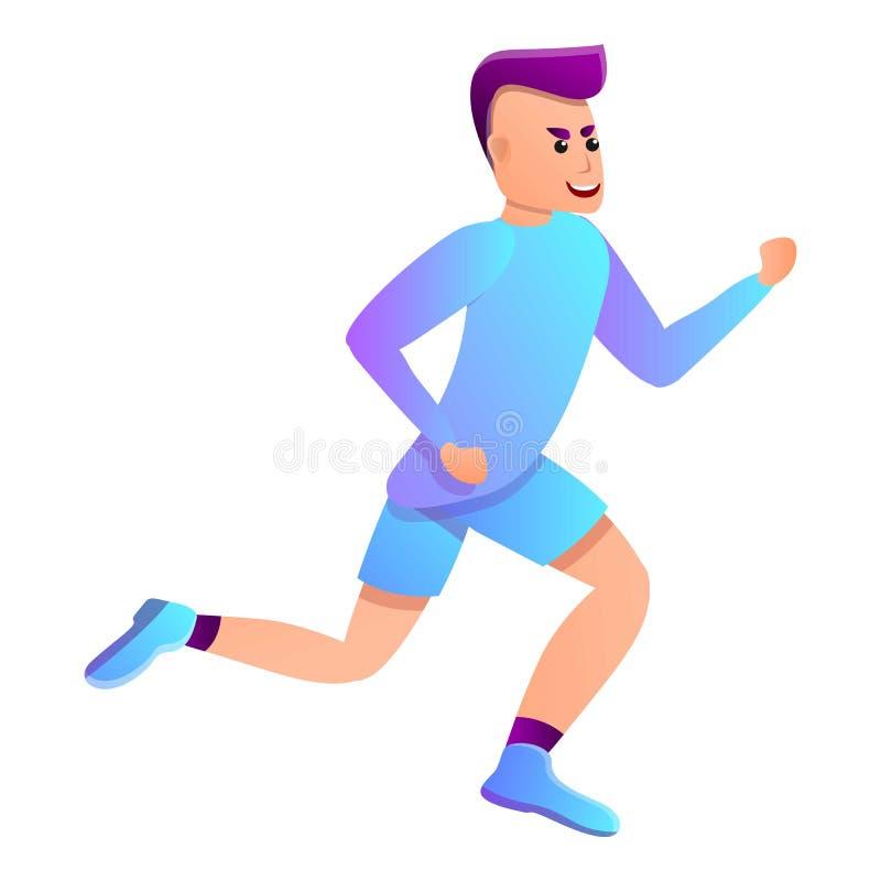 Icône courante de triathlon d'homme, style de bande dessinée illustration libre de droits