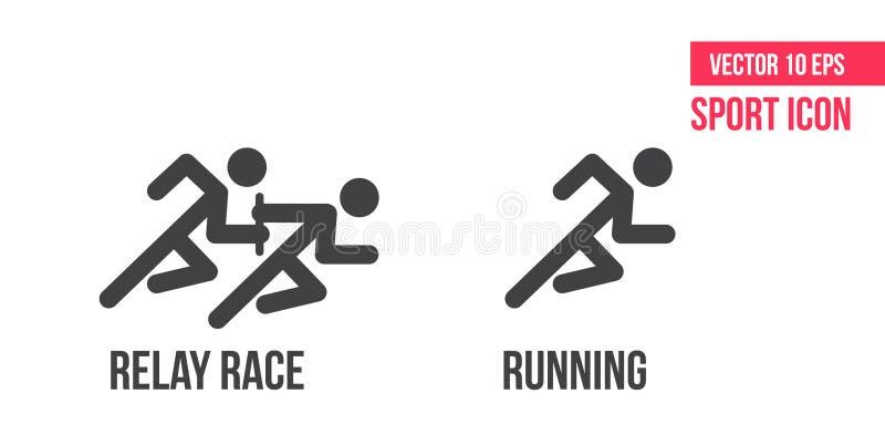 Icône courante, icône de vecteur de course de relais Placez de la ligne icônes de vecteur de sport pictogramme d'athlète illustration de vecteur