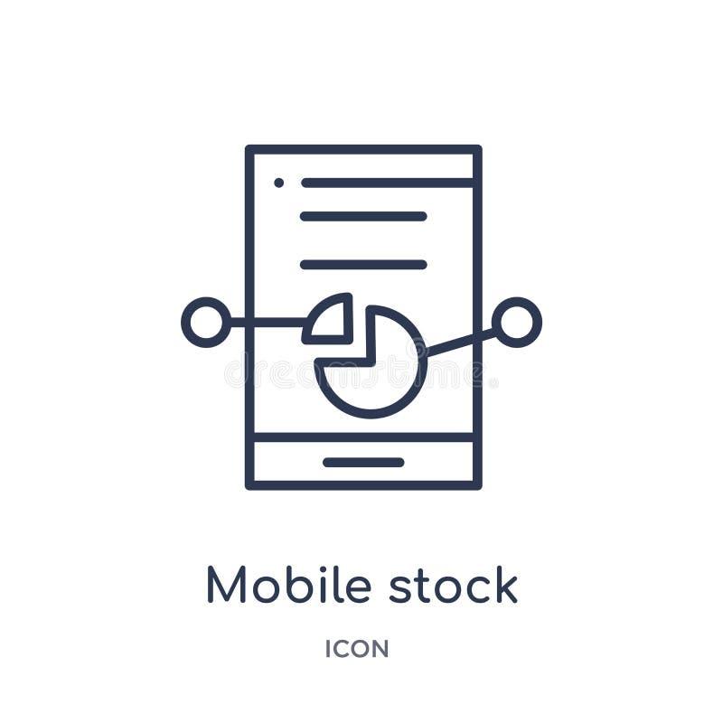 icône courante mobile d'analyse de données de collection d'ensemble d'interface utilisateurs Ligne mince icône courante mobile d' illustration libre de droits