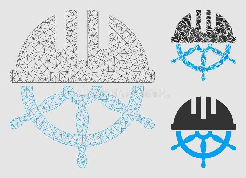 Icône couverte de mosaïque de modèle et de triangle de maille de vecteur de volant 2D illustration libre de droits