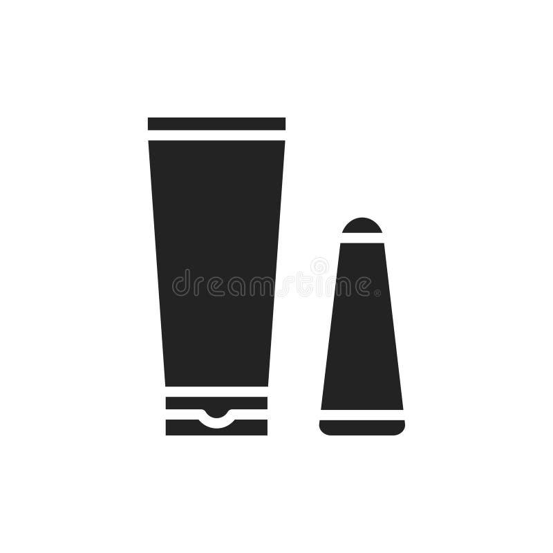 Icône crème dépilatoire de silhouette Méthode d'épilation Dépilage Grattoir de crème et de spatule pour l'application illustration stock