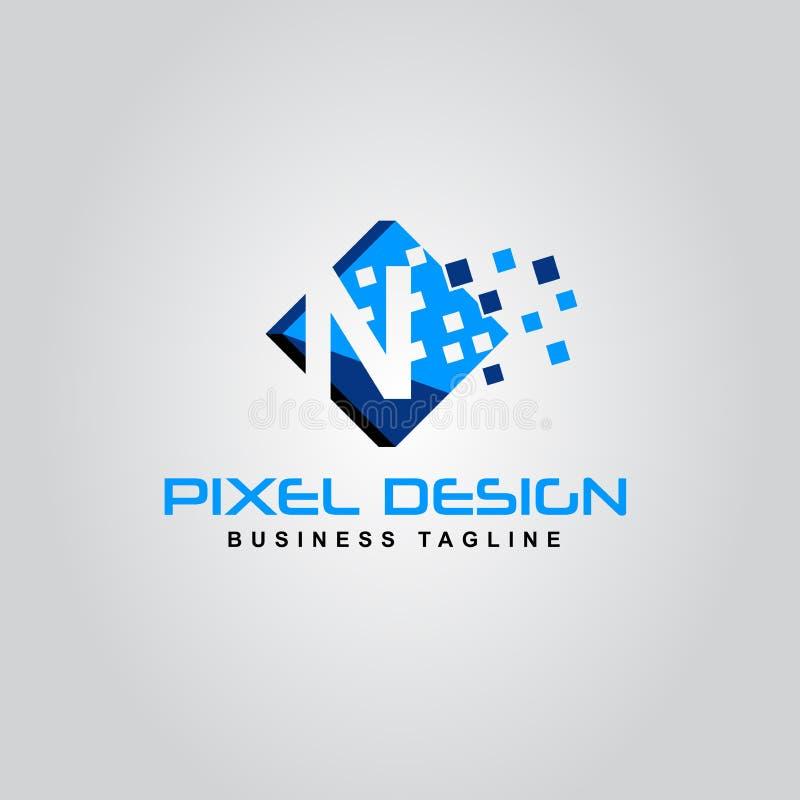 Icône créative moderne de vecteur de conception de lettre d'alphabet de logo de pixel de N illustration libre de droits