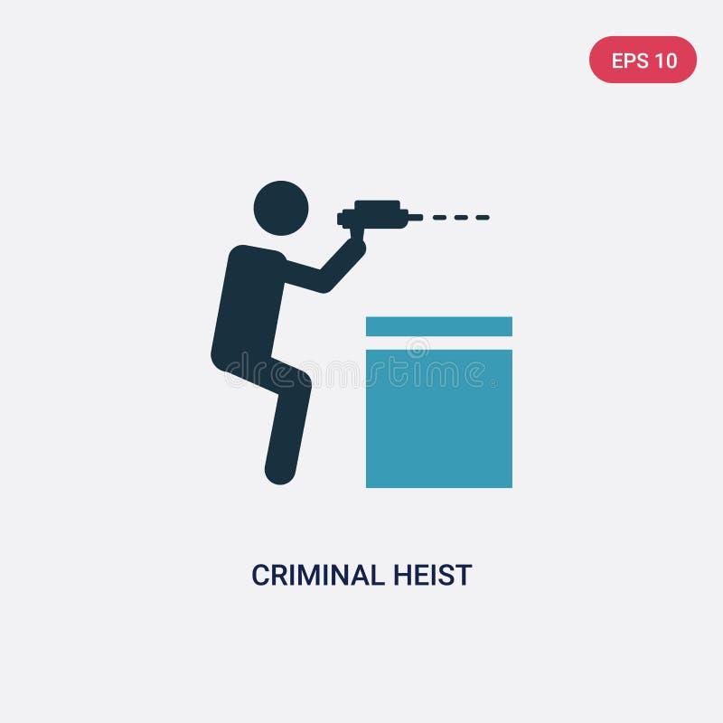 Icône criminelle de vecteur de cambriolage de deux couleurs de concept de personnes le symbole criminel bleu d'isolement de signe illustration libre de droits