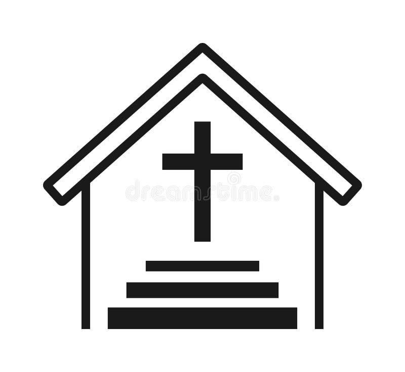 Icône croisée d'église illustration stock