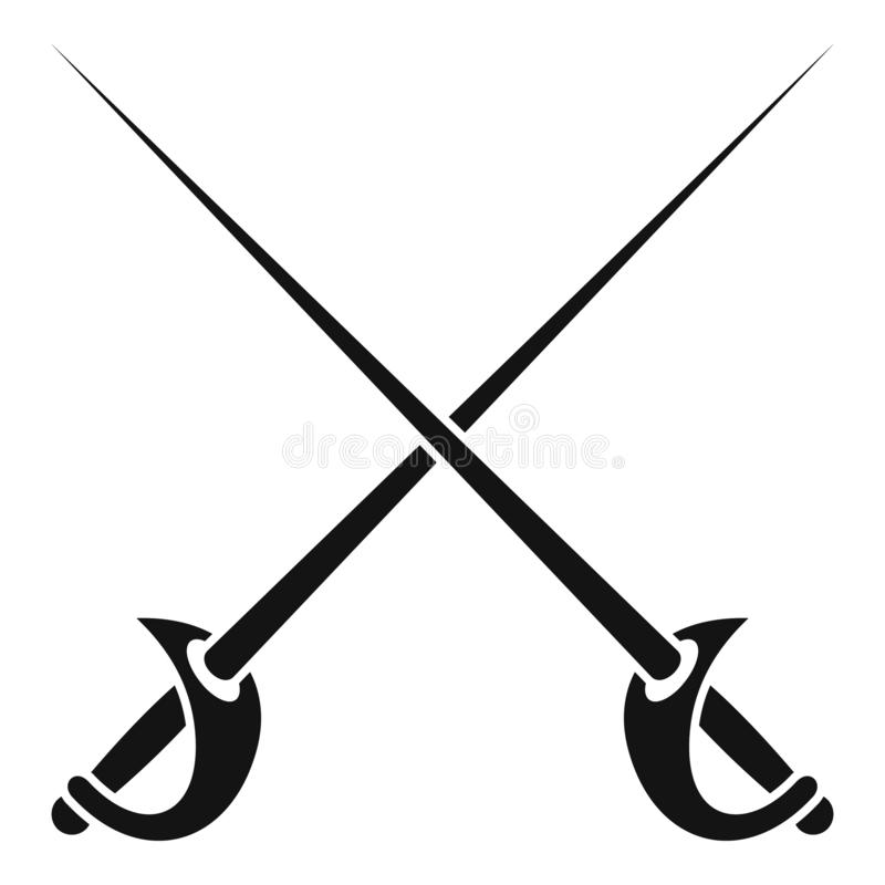 Icône croisée de rapières, style simple illustration de vecteur