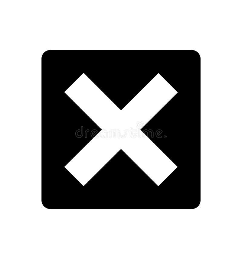 Icône croisée du signe X d'isolement sur l'illustration blanche de vecteur de symbole de fond illustration de vecteur