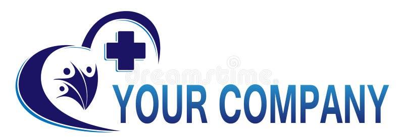 Icône croisée médicale de logo de santé de famille de coeur pour la société illustration libre de droits