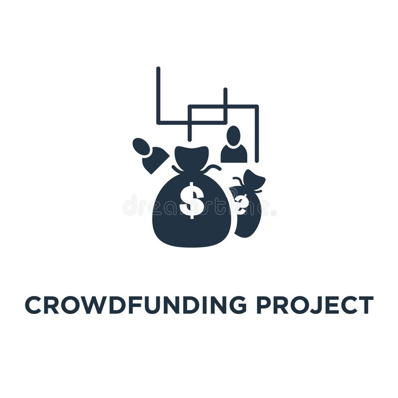 icône crowdfunding de projet conception collectante des fonds de symbole de concept de campagne, donation d'argent, fonds de char illustration stock