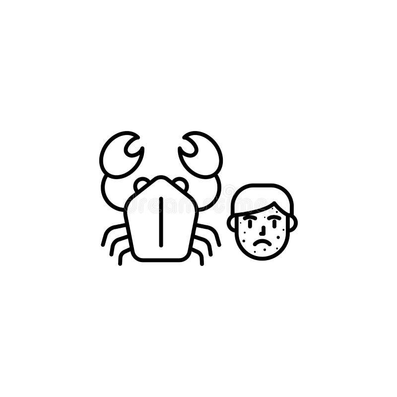 Icône crustacéenne et allergique Élément des problèmes avec l'icône d'allergies Ligne mince icône pour la conception de site Web  illustration libre de droits