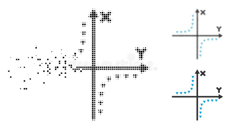 Icône déchiquetée de complot d'hyperbole pointillée par image tramée de pixel illustration stock