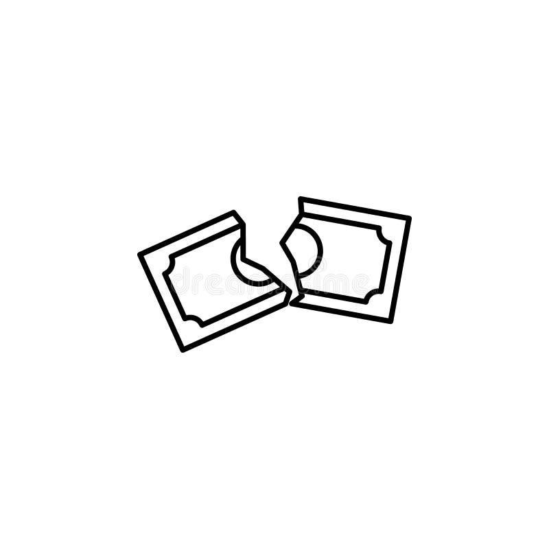 icône déchirée de style d'ensemble de note d'argent Élément d'icône de guerre de devise pour les apps mobiles de concept et de We illustration de vecteur