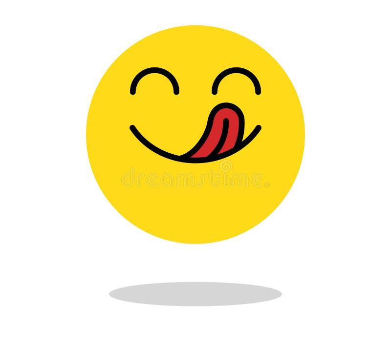 Icône délicieuse Visage de sourire affamé avec la bouche et la langue Symbole délicieux et savoureux de bande dessinée de vecteur illustration de vecteur