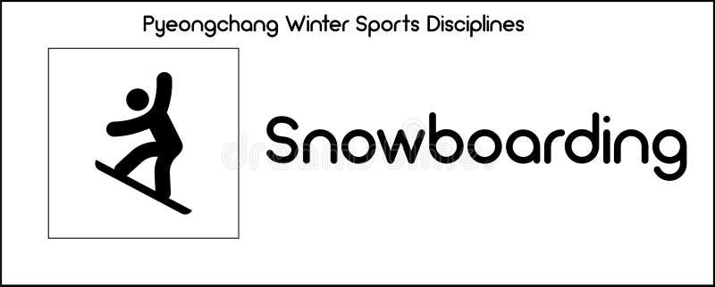 Icône dépeignant la discipline de snowboarding des jeux de sports d'hiver dedans illustration stock