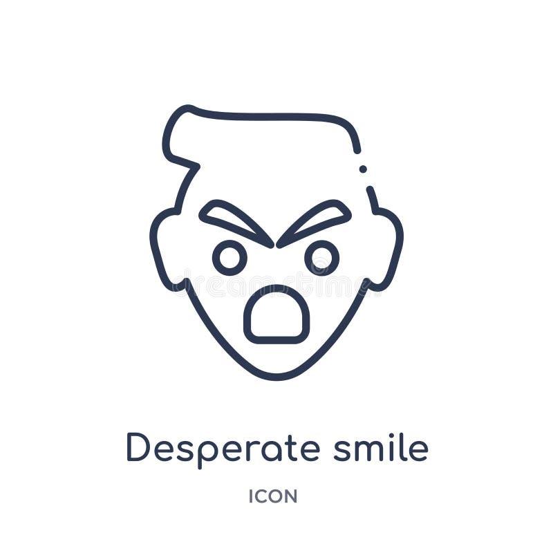 Icône désespérée linéaire de sourire de collection d'ensemble d'Emoji Ligne mince vecteur désespéré de sourire d'isolement sur le illustration libre de droits