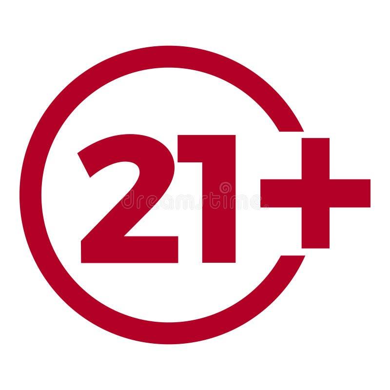 Icône d'âge de limite sur le fond rouge Illustration plate de vecteur de limite d'âge d'icônes illustration libre de droits