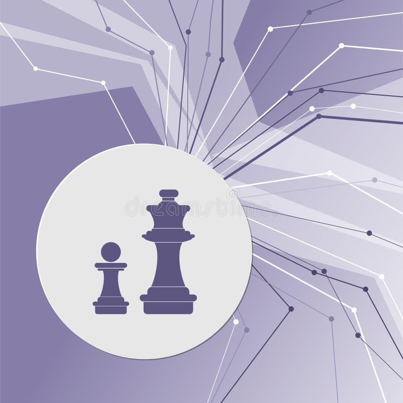 Icône d'échecs sur le fond moderne abstrait pourpre Les lignes dans toutes les directions Avec la pièce pour votre publicité illustration libre de droits