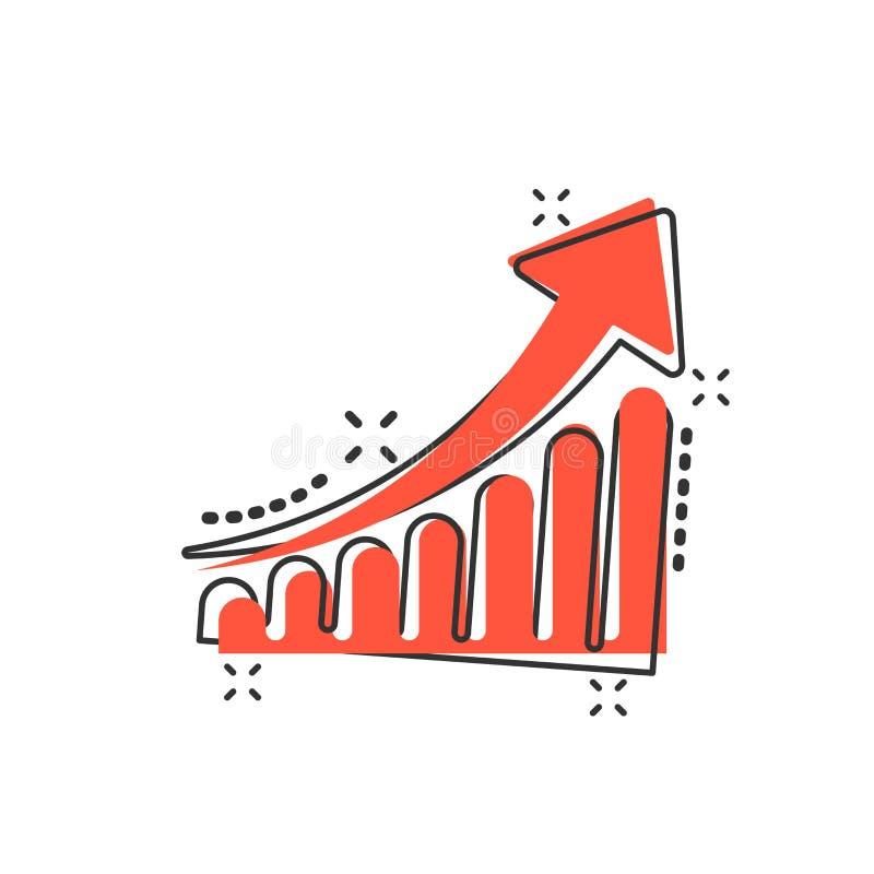 Icône d'échelle de croissance de bande dessinée de vecteur dans le style comique Élevez le diagramme SI illustration libre de droits