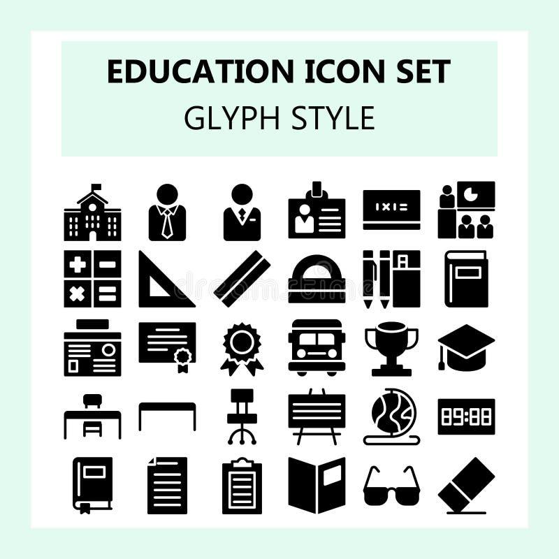Icône d'école et d'éducation réglée dans le glyph ou le style solide illustration de vecteur