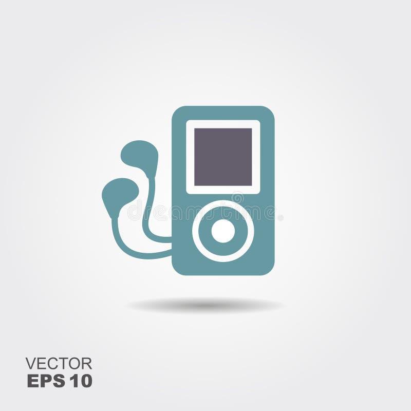Icône d'écouteurs de lecteur mp3 dans le style plat d'isolement sur le fond gris illustration de vecteur