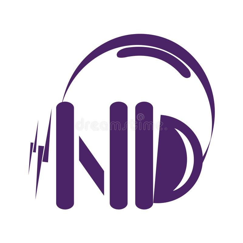 Icône d'écouteurs de vecteur de monogramme de ND illustration stock