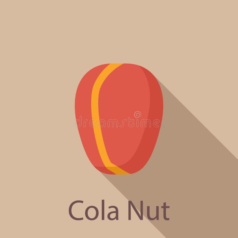 Icône d'écrou de kola, style plat illustration stock