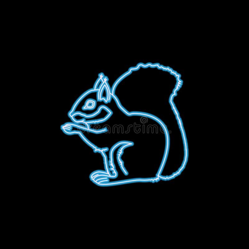 icône d'écureuil dans le style au néon Un de l'icône de collection de rongeurs peut être employé pour UI, UX illustration de vecteur