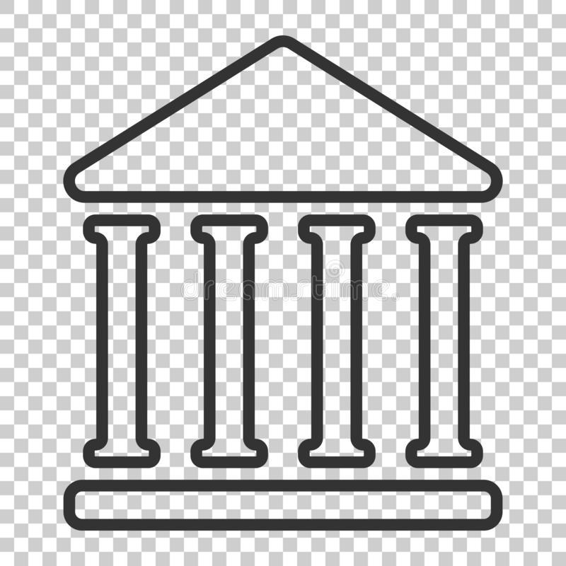 Icône d'édifice bancaire dans le style plat Vecteur d'architecture de gouvernement illustration de vecteur