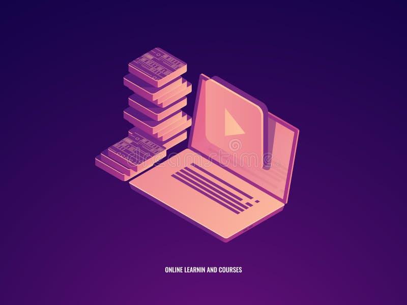 Icône d'éducation, étude et cours en ligne, ordinateur portable avec le vecteur isométrique de concept électronique de livre illustration libre de droits