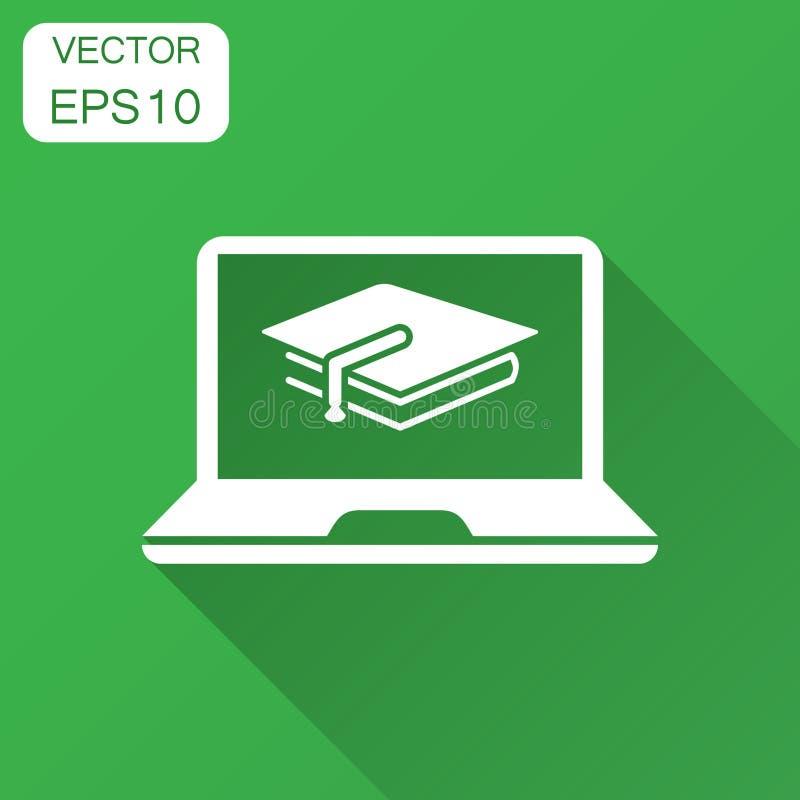 Icône d'éducation d'Elearning dans le style plat Illustration de vecteur d'étude avec la longue ombre illustration de vecteur