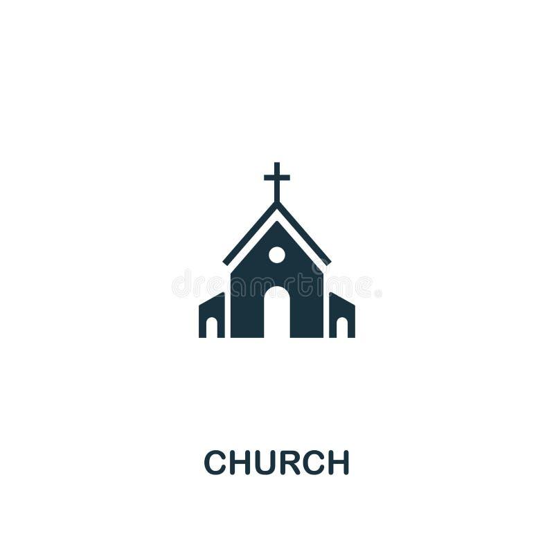 Icône d'église Conception créative d'élément de collection d'icônes de Pâques Icône parfaite d'église de pixel pour la conception illustration libre de droits