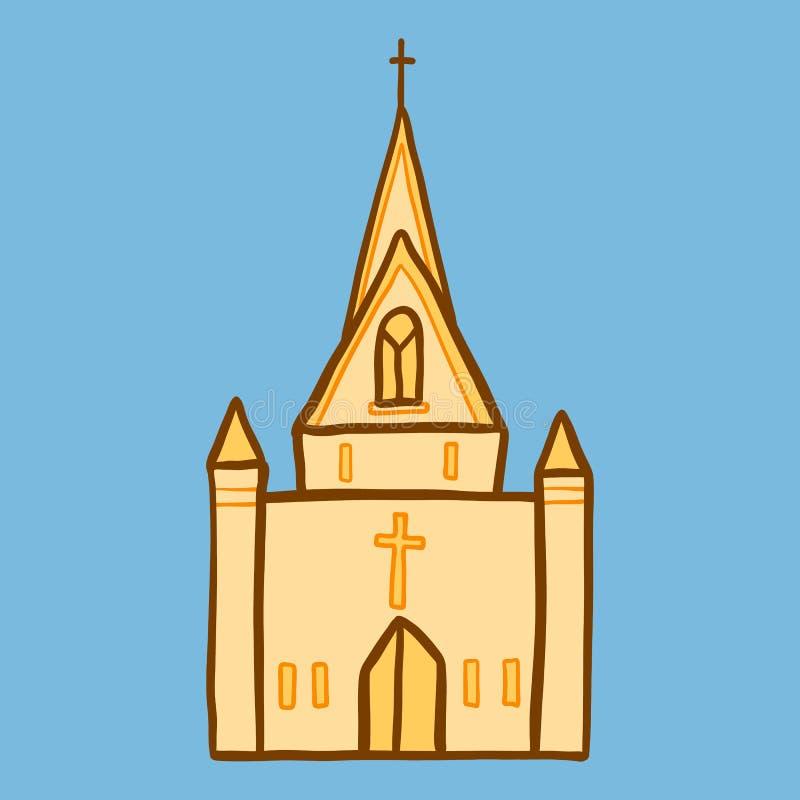 Icône d'église de cathédrale, style tiré par la main illustration de vecteur