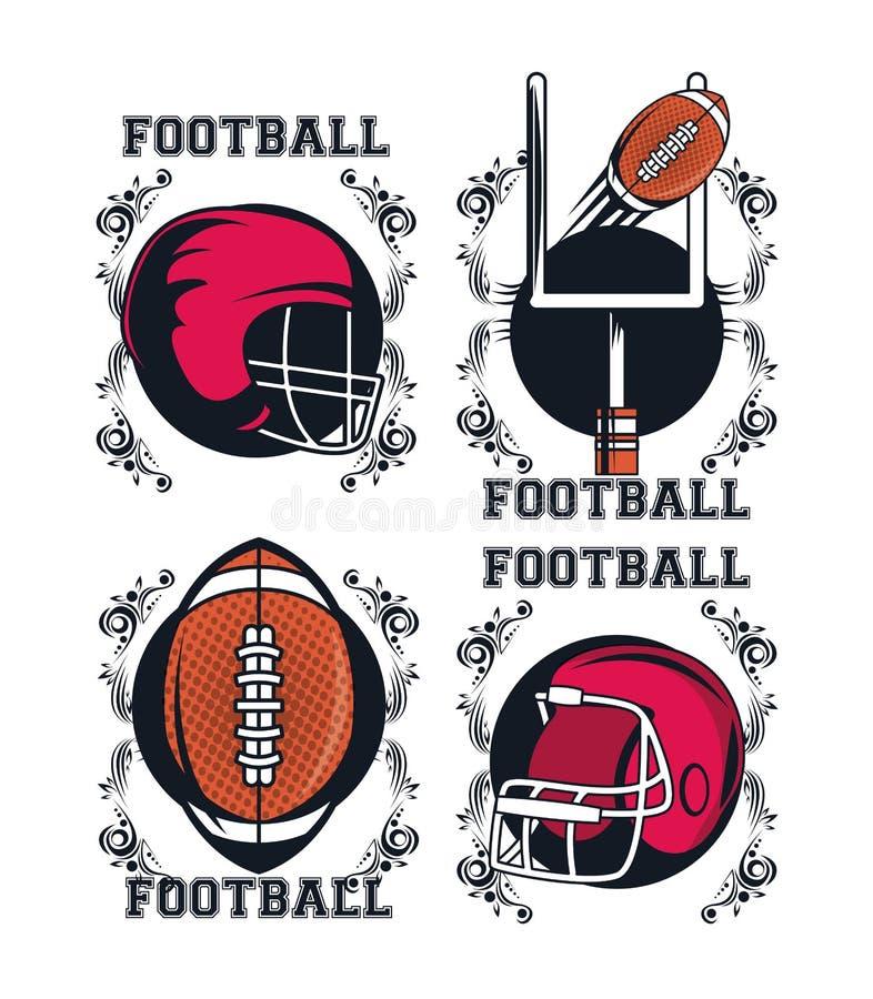 Icône d'éléments du football illustration stock