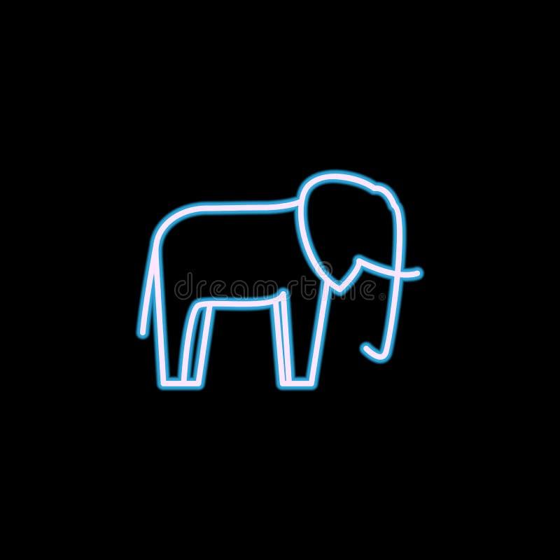 icône d'éléphant dans le style au néon Un de l'icône de collection de safari peut être employé pour UI, UX illustration libre de droits
