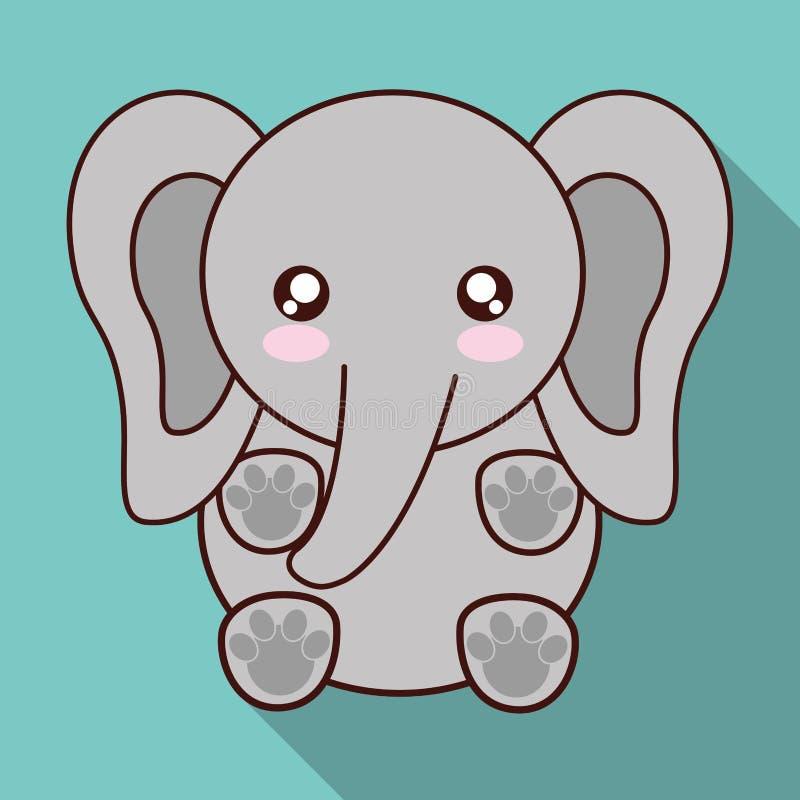 Icône Déléphant De Kawaii Animal Mignon Dessin De Vecteur