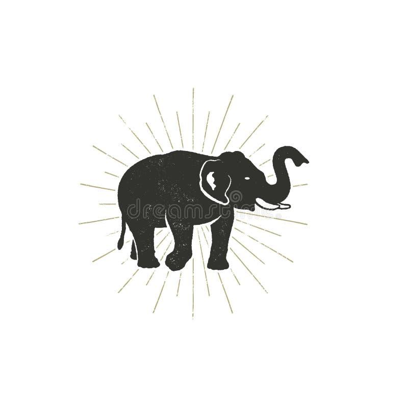 Icône d'éléphant Symbole tiré par la main d'animal sauvage de vintage Rétro conception monochrome, style Avec des éclats du solei illustration libre de droits