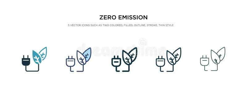 Icône d'émission zéro dans un vecteur de style différent deux icônes vectorielles en couleur et en noir zéro émission, conçues en illustration stock