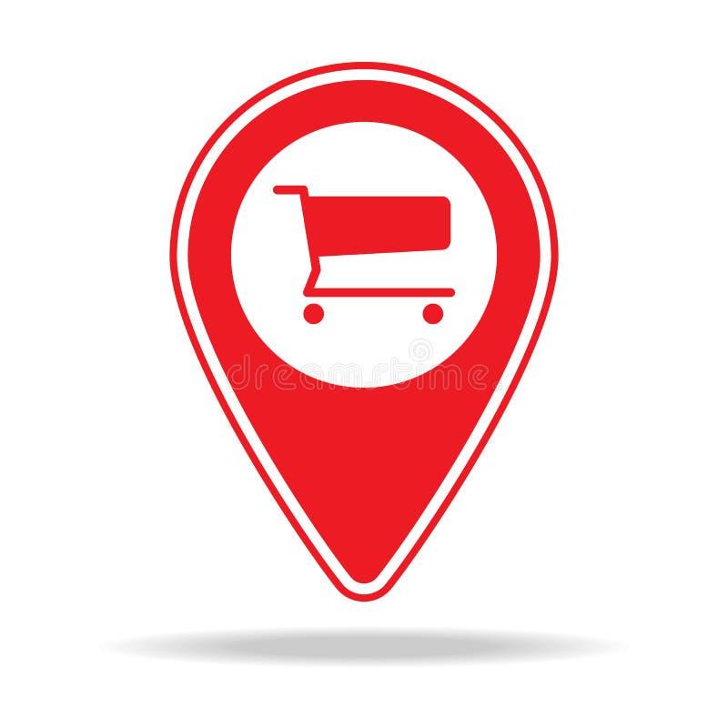 icône d'épicerie ou de goupille de carte de supermarché Élément d'icône d'avertissement de goupille de navigation pour les apps m illustration libre de droits