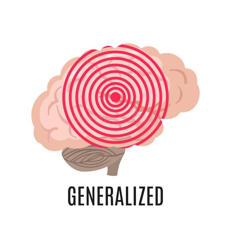 Icône d'épilepsie généralisée d'isolement sur le backround blanc Illustration médicale illustration stock