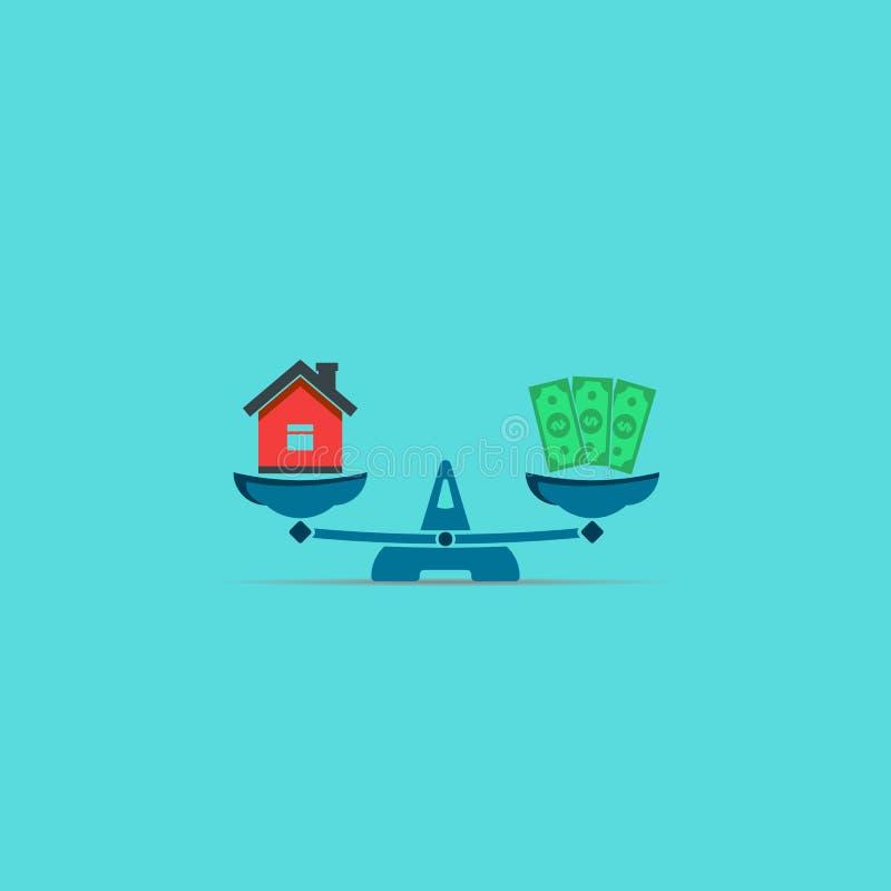 Icône d'équilibre d'argent et de maison Symbole plat de vecteur illustration stock