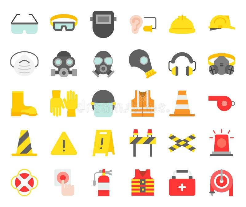 Icône d'équipement d'équipement de protection personnel et de sapeur-pompier, fla illustration stock