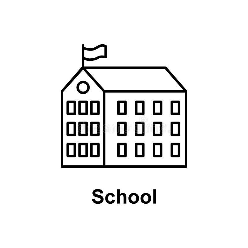icône d'établissement d'école Élément d'icône d'école pour les apps mobiles de concept et de Web Ligne mince icône pour la concep illustration libre de droits